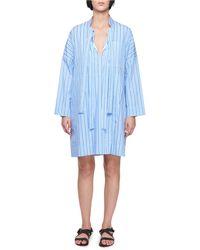 Victoria, Victoria Beckham - Tie-neck Long-sleeve Striped Cotton Dress - Lyst