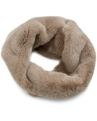 Heurueh Luxe Faux Fur Crossover Cowl Scarf - Brown