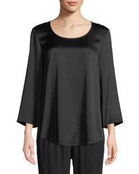 Eileen Fisher - 3/4-sleeve Silk Charmeuse Blouse Petite - Lyst