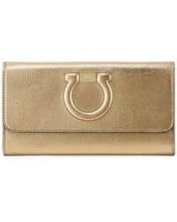 Ferragamo - Gancio City Metallic Leather Zip Wallet - Lyst