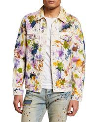 Purple Men's Multicolor Hand-painted Denim Jacket