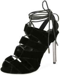 Tom Ford - Velvet Cutout Lace-up Sandal - Lyst