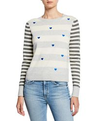 Lisa Todd Skip A Beat Multi-stripe Cotton/cashmere Sweater W/ Embroidered Hearts - Multicolour