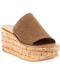 Chloé Camille Suede Wedge Slide Sandals - Gray