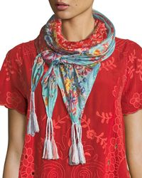 Johnny Was Lacey Silk Georgette Scarf - Red
