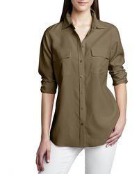 Go> By Go Silk Plus Size Safari Long-sleeve Silk Shirt