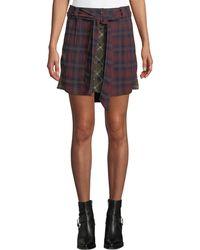 Rag & Bone - Felicity Plaid Tie-waist Button Skirt - Lyst