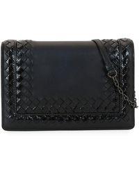 Bottega Veneta - Leather Shoulder Bag With Snakeskin Trim - Lyst