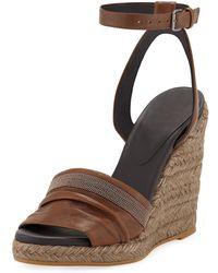Brunello Cucinelli - Leather Wedge Espadrille Sandals With Monili Toe - Lyst