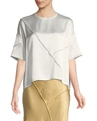 Vince Raw-edge Silk Short-sleeve Tee - Black