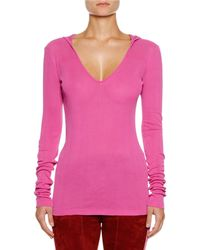 Unravel - Hooded Silk V-neck Top - Lyst
