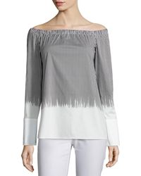 Lafayette 148 New York - Striped Off-the-shoulder Blouse - Lyst