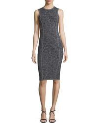 Michael Kors - Herringbone Tweed Sleeveless Sheath Dress - Lyst