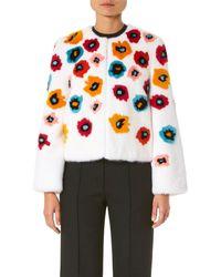 Carolina Herrera - Collarless Floral-print Mink Fur Jacket - Lyst