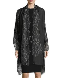 Bindya - Pumice Lace-overlay Evening Stole/wrap - Lyst