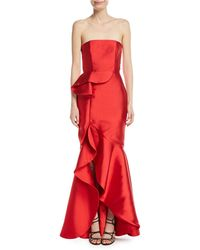 Fame & Partners - The Seller Twill Strapless Bustier Gown W/ Side Ruffle - Lyst