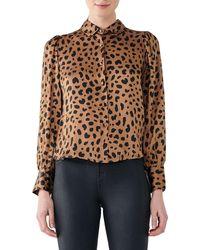 DL1961 X Marianna Hewitt Chambers St. Animal Print Silk Shirt - Brown