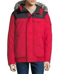 The North Face Men's Gotham Fur-trim Parka Coat - Red