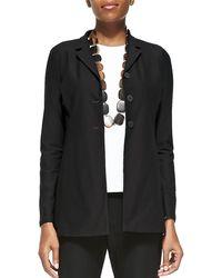 Eileen Fisher Washable-Crepe Long Jacket - Black