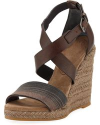 455279054b91 Brunello Cucinelli - Embellished Leather Wedge Espadrilles - Lyst