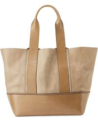 Brunello Cucinelli - Two-tone Leather Tote Bag - Lyst