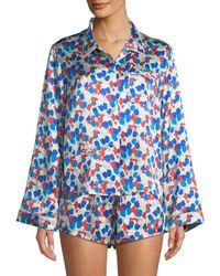 Morgan Lane - Ruthie Painted Tulip Silk Pajama Top - Lyst