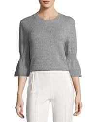 Halston - Cashmere-blend Bell-sleeve Sweater - Lyst