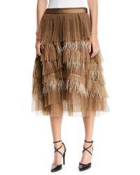 Brunello Cucinelli - Tiered Tulle Feathered Midi Skirt - Lyst