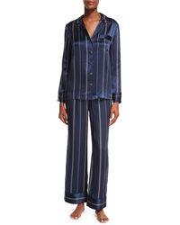 Neiman Marcus - Pinstripe Two-piece Silk Pajama Set - Lyst