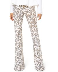 Michael Kors Embroidered Flare Pants - Natural
