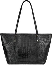 Gigi New York Taylor Crocodile-embossed Tote Bag - Black