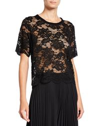 Loyd/Ford Scalloped Lace Tee - Black