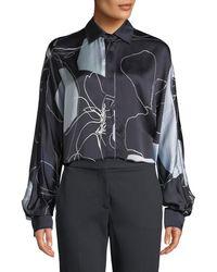 Max Mara - Renna Abstract-print Silk Button-front Blouse - Lyst