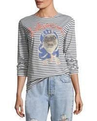 Libertine - Striped Pug Printed Long-sleeve T-shirt - Lyst