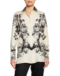 Etro Etched Forest Print Silk - White