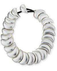 Viktoria Hayman Swirl Statement Collar Necklace - Metallic