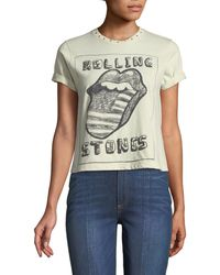 AO.LA by alice + olivia - Berk Rolling Stones Studded Roll-cuff Graphic Tee - Lyst