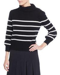 Co. Wool-cashmere Striped Turtleneck Sweater - Black