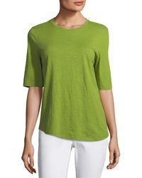 Eileen Fisher - Half-sleeve Slubby Organic Cotton Top - Lyst