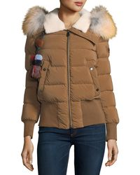 Peuterey - Hotas Zip-front Puffer Bomber Jacket W/ Pompom - Lyst