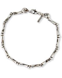 Emanuele Bicocchi Men's Bone Chain Bracelet With Twin Skulls, Silver - Metallic