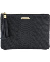 Gigi New York All In One Python-embossed Clutch Bag - Black