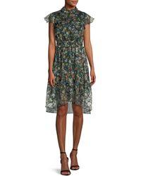 Kendall + Kylie - Floral-print Ruffle Knee-length Dress - Lyst
