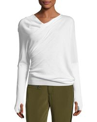 Tom Ford - Draped-front Long-sleeve Top - Lyst