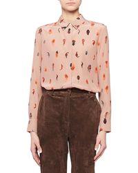 Altuzarra - Feather-print Silk Crepe Button-up Blouse - Lyst