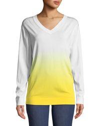 ESCADA - Long-sleeve V-neck Dégradé Knit Pullover Sweater - Lyst