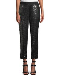 Alice + Olivia - Stacey Sequin Tapered-leg Pull-on Cropped Pants - Lyst