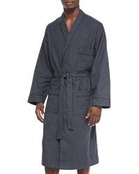 Neiman Marcus Micro-check Cotton Robe - Gray