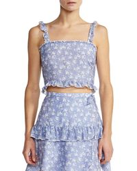 Kisuii Romy Floral Cropped Top - Blue