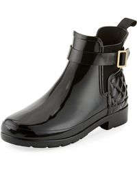 HUNTER - Refined Gloss Quilted Chelsea Boot - Lyst